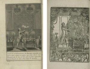 À esquerda a capa do livro de Decremps; à direita a de Astley(Clique na imagem para ampliá-la)