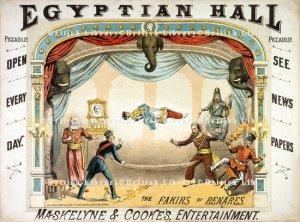 Cartaz do Egyptian Hall, mostrando a levitação criada por MAskelyne & Cooke.