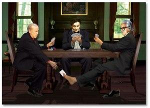 Charles Miller e Dai Vernon enganando Houdini. Desenho de Akemi Yoshida
