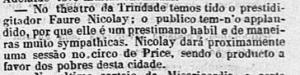 """FIGURA 5 - Primeiro registro de um show de Faure no Brasil - """"O Diário do Rio de Janeiro"""", 31/03/1871 (clique na imagem para ampliá-la)"""
