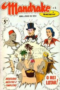Lothar, Mandrake e Narda na edição 01 da revista Mandrake, editora RGE