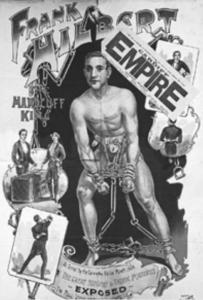 Cartaz anunciando o show de Houdini expondo Frank Hilbert