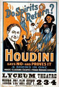 Poster anunciando um show onde Houdini desmascara fraudes.