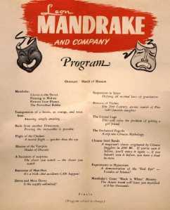 Programa do show de Mandrake - 1947