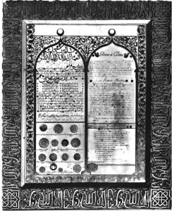 Certificado dado à Robert-Houdin pelos líderes das tribos árabes. 1856