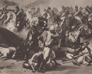 Charge da cavalaria francesa contra insurgentes Argelinos. 1843