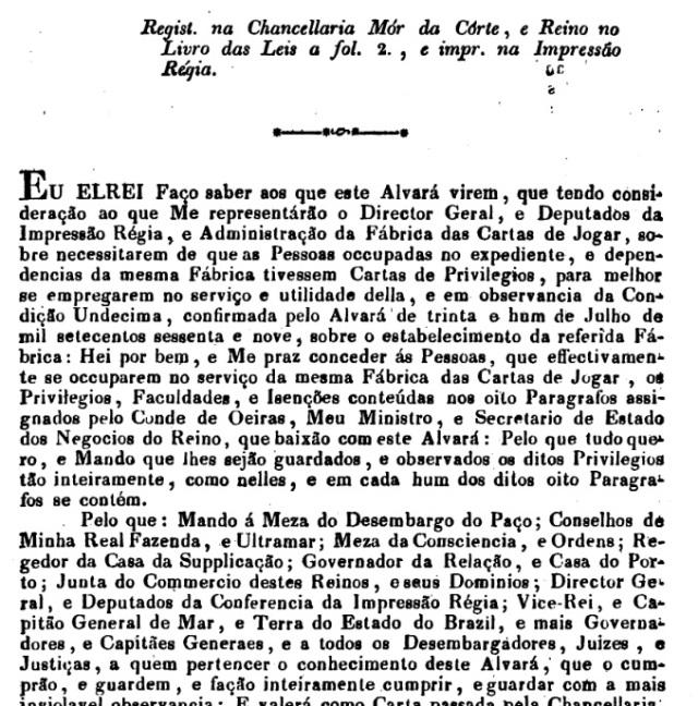 alvará cartas 1770