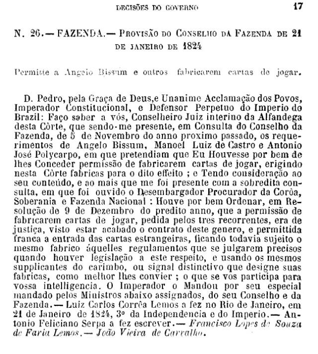 decreto 26 de 1824